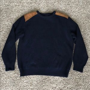 J. Crew navy leather shoulder cable knit sweater L